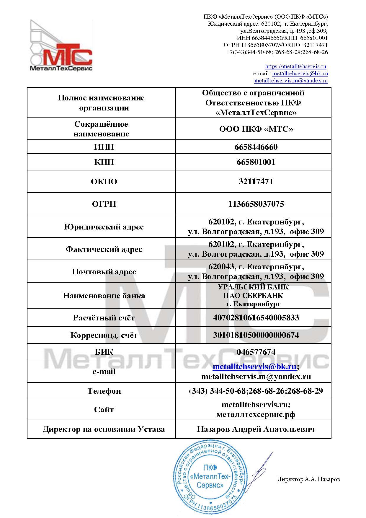 Карточка предприятия ООО ПКФ МТС